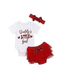 3Pcs/Set Baby Girl Daddy's Little Girl Bodysuit Romper+Tutu Shorts+Bowknot Headband Set