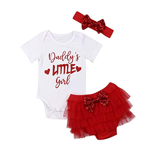 Newborn Infant Baby Girl Fathers Day Outfit Daddy's Little Girl Print Romper Jumpsuit+Tutu Shorts+Headband Red/12-18 Months