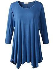 LARACE Women's Plus Size 3/4 Sleeve Tunic Tops Loose Basic Shirt