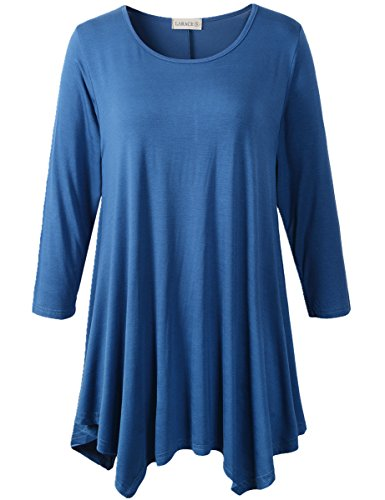 Feminine Knit Top (Lanmo Women Plus Size 3/4 Sleeve Tunic Tops Loose Basic Shirt (L, Steel Blue))