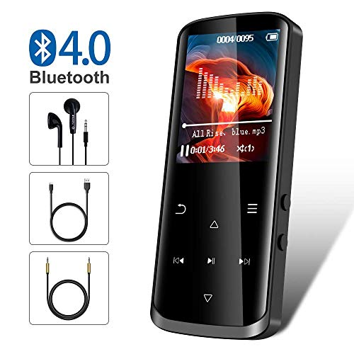 Mp3 Player,16GB Mp3 Player with Bluetooth,Built-in Speaker,Portable HiFi Lossless Sound Music Player with FM Radio Voice Recorder Touch Button with Screen Support up to 128GB(Black) (Mps Fm)