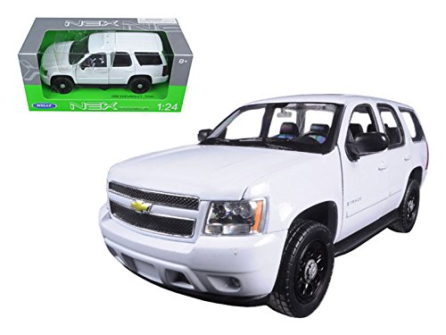 new-124-w-b-welly-collection-white-2008-2008-chevrolet-tahoe-police-version-solid-diecast-model-car-