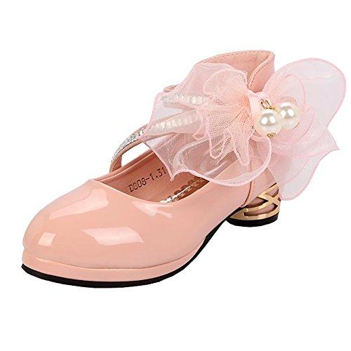 BININBOX Girls Bowknot Pearl Girls Dress Shoes Low-Heels Mary Jane Shoes Ballet (3.5 M US Big Kid, Pink) by BININBOX