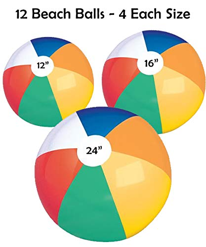 (Bottles N Bags 12 Big Beach Balls | Jumbo 24