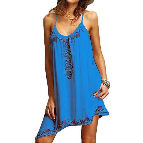 Robe d't Femme Sexy Sans Manches Imprim Lache Robe de Plage Mxssi Mode Moulante Femmes Robes de Soire Bleu Fonc