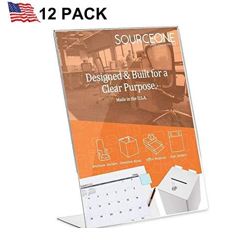 Slant Acrylic Back - Source One 8.5 X 11-inches Acrylic Slant Back Sign Holder, Brochure Holder, Pack of 6 (12 Pack)