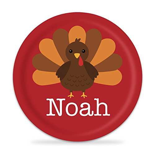 Thanksgiving Plate - Red Turkey Kids Melamine Personalized Plate