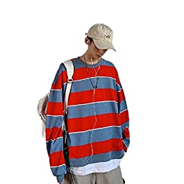 Men's Stripe Long Sleeve  T-Shirt Top Big Tall Baggy Sweatshirt