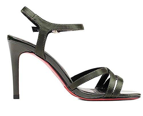 YEEY Summer Stiletto Open Toe Ankle Strap Sandalias de tacón alto para las mujeres Seda superior zapatillas de tendón Elegante Ladies Shoes Army Green