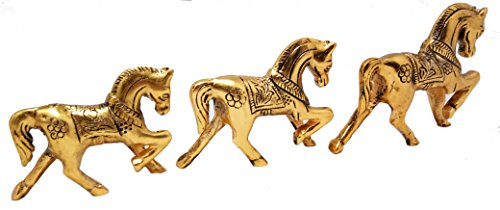 HOLI DHAMAKA SALE A Set of 3 Golden Animal Horse Figurine Statue Idol 6 (Golden Set Figurine)