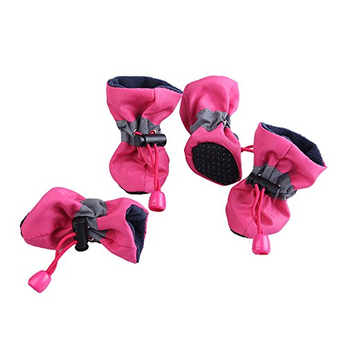 royalwise Antiskid Winter Dog Boots Pet Shoes Soft Stockings Paw Protector Booties for Small Dogs (M, SprRose)