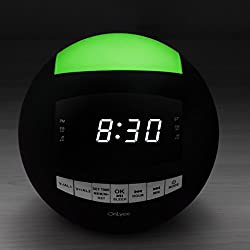 OnLyee AM FM Radio Digital Alarm Clock with Wireless Bluetooth, Dimmable LED Display, 7-Color Night Light, Dual USB Charging Port, Sleep Timer, Battery Backup for Bedroom, Kitchen, Office,Kids