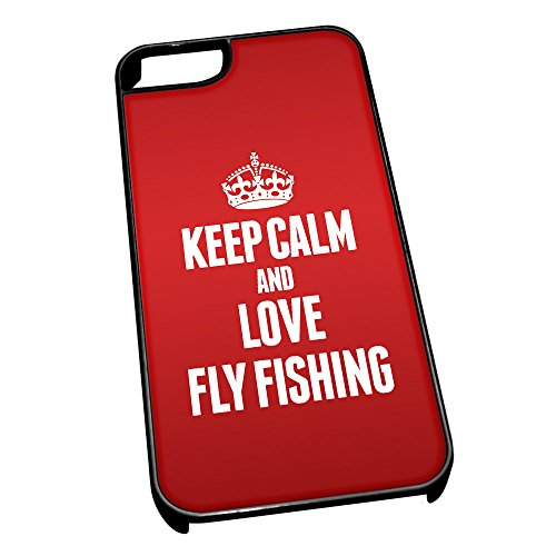 Nero cover per iPhone 5/5S 1746 Red Keep Calm and Love Fly Fishing