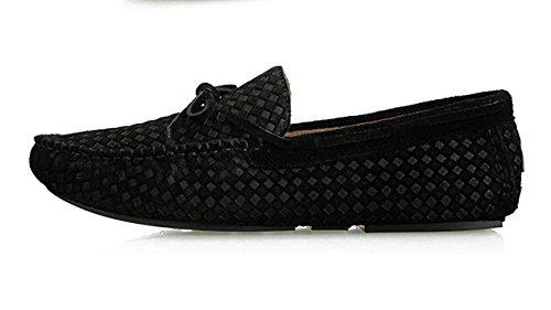 Happyshop (tm) Mens Mode Nubuckläder Dress Shoe Slip-on Tofs Dagdrivare Driv Skor Båt Skor Storleks 38-44 Svart