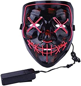 Halloween Mask LED Light up Purge Mask for Festival Cosplay Halloween Costume Masquerade Parties-red light