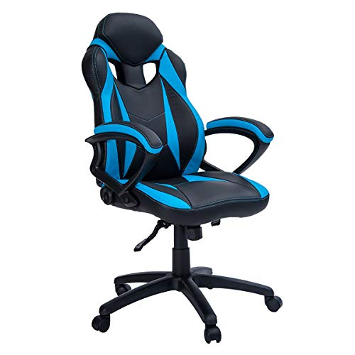 MIERES Gaming Racing Office High Back Computer Desk PU Leather Executive and Ergonomic Adjustable Swivel Chair, Blue