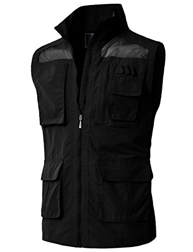 H2H Mens Casual Work Wear Utility Hunting Travels Sports Vest With Multiple Pockets Black US L/Asia XL (KMOV0151)