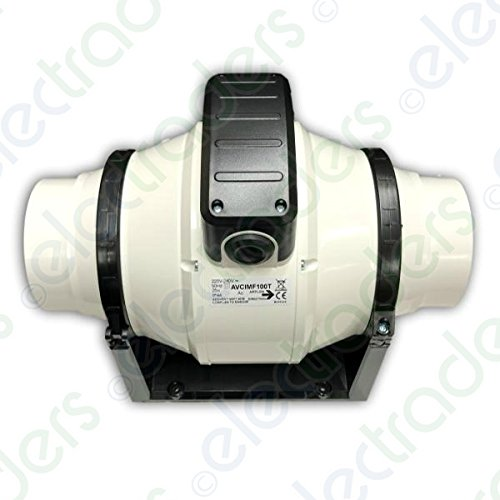 Addvent AVCI MF100T In-Line Mixed Flow Extractor Fan 100mm / 4 inch (Timer Model)