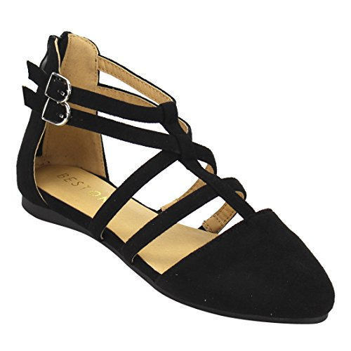 Beston DE53 Women's Ankle Strap T-strap Ballerina Flats Run One Size Small, Color Black, Size:9 (T-strap Ballet Shoes)