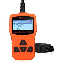isYoung Vehicle Scan Tool OBD/EOBD CAN Diagnostic Tool 10 Modes OBDII Test + Quick Battery Health Check Engine Scanner for AUDI/VW/SKODA/BENZ/BMW/PORSCHE/GM & Other Car/SUV/Light Duty Vehicle( Orange)