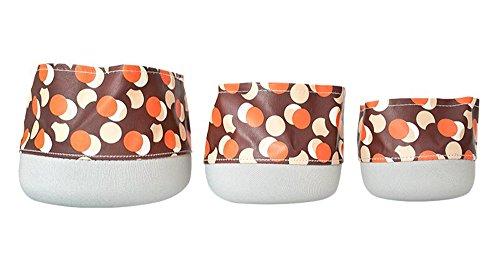 Multifunctional Waterproof Round Desktop Storage Basket Planters Set of 3 (Brown/Dot) by FREELOVE