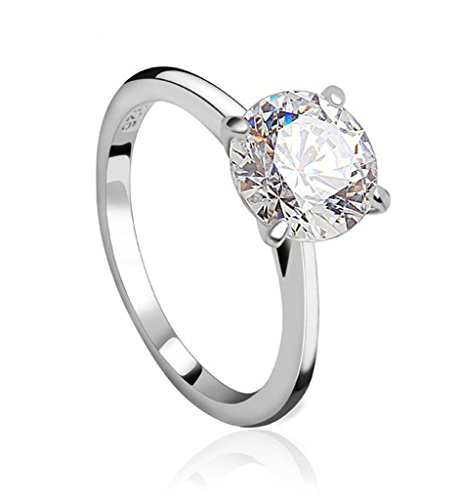 Beydodo White Gold Plate Classic Promise Rings For Women 8x8mm Round White AAA Cubic Zirconia Size 8