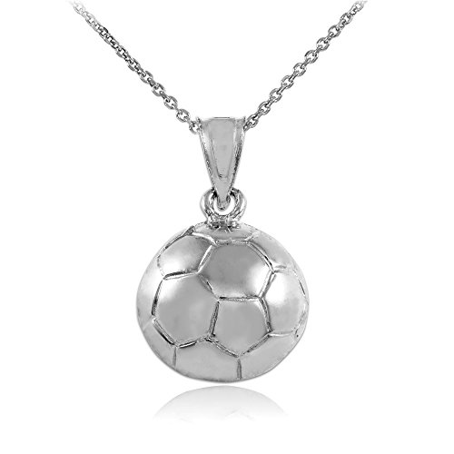 10k White Gold Sports Charm Soccer Ball Pendant Necklace, -