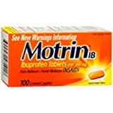 Motrin IB Pain Reliever Fever Reducer (NSAID) Ibuprofen Tablets 100 caplets