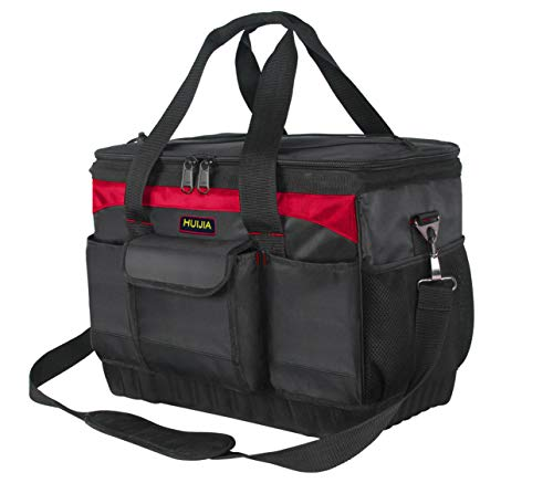 - HUIJIA 15-inch Tool Bag Multifunctional Portable Tool Organizers with Wear-Resistant Hard Bottom Waterproof and Adjustable Strap(M:(15
