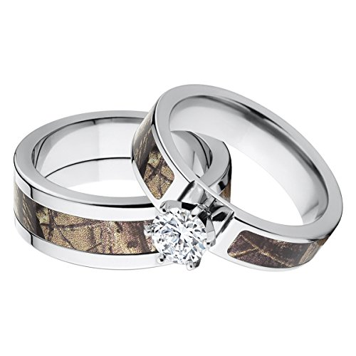 amazoncom his and hers matching realtree ap camouflage wedding ring set jewelry - Realtree Camo Wedding Rings