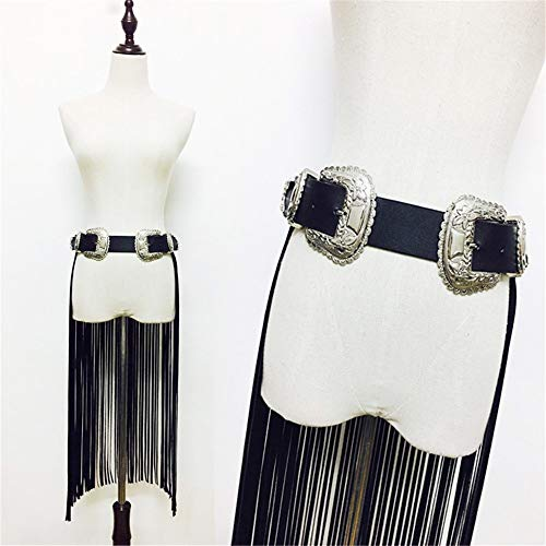 Body Chest Straps Waist Harness Straps Women Faux Leather Adjustable Body Harness Belt Hippie Boho Long Fringe Tassel Waist Belt Strap with Double Buckle Costume Party Stage Performance Skirt Belt Pun -