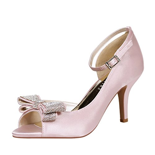 ERIJUNOR E1599 Women Comfortable Middle Heel Peep Toe Bows Rhinestones Satin Wedding Evening Party Shoes Blush US - Candy Satin Pink