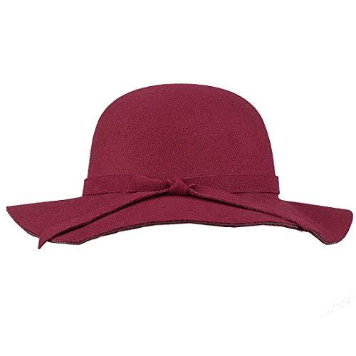 183b5d68a3692 KRATARC Kids Sun Hat Girls Floppy Wide Brim Hat Bow Cap Winter (Wine Red)