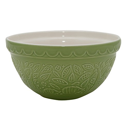 Mason Cash In The Forest Hedgehog Embossed Mixing Bowl, Sage Green, 1.25-Quart, 8-1/4 by 8-1/4 by 4 Inches