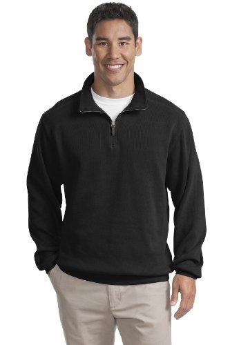 Big Mens Flatback Rib 1/4 Zip Sweatshirt by Port Authority