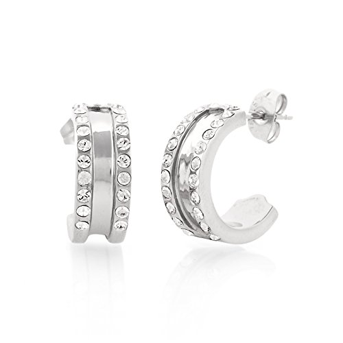 """""""Stainless Steel Simulated Diamond Jeweled Encrusted Silver Tone Earrings with Gift Box """""""