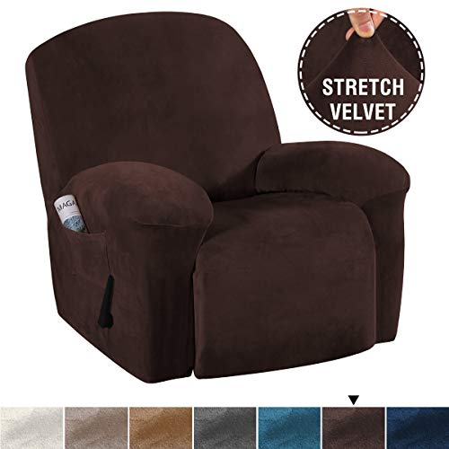 H.VERSAILTEX Stretch Recliner Covers with Pockets 1-Piece Recliner Chair Slipcovers Furniture Cover for Recliner Couch Cover Velvet Plush Slipcover Anti-Slip Slipcover Highly Fitness(Recliner, Brown)