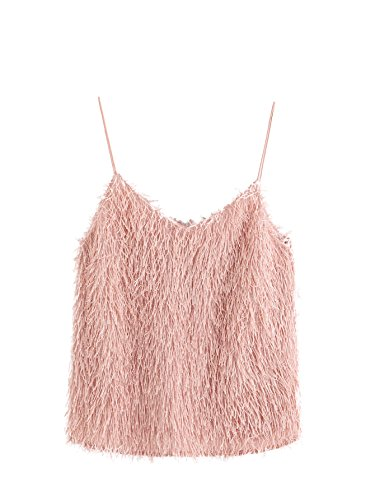 ROMWE Women's Cute Sexy Fringe Fluffy Fuzzy Cami Top Pink M