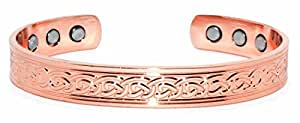 Copper Bracelet for Arthritis; 99.9% Pure Copper; Beautiful Traditional Celtic Design; Often Worn for Pain Relief and Magnetic Healing (6 Magnets Embedded); Beautiful Accessory; 10mm Width