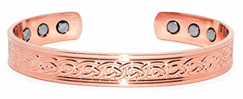 Copper Bracelet for Arthritis; 99.9% Pure Copper; Beautiful Traditional Celtic Design; Often Worn for Pain Relief and Magnetic Healing (6 Magnets Embedded); Beautiful Accessory; 10mm -