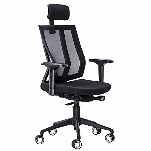 GreenForest Mesh Office Chair with Adjustable Slider Seat ReclineLockingMechanism Big and Tall Backrest 360 Degree Swivel Executive Computer Task Chair with Headrest and 4D Armrest,Black