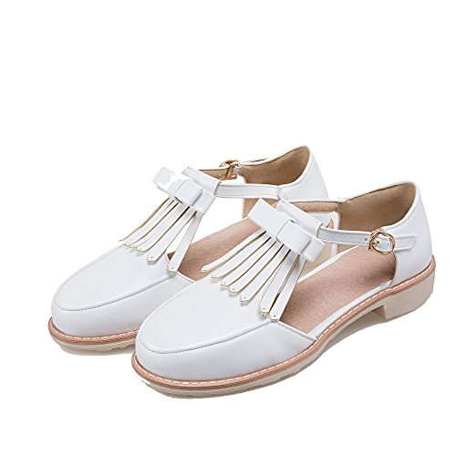 Chaussures PU Rond AalarDom Couleur Blanc Légeres Boucle Femme Unie Cuir wO0pFq0