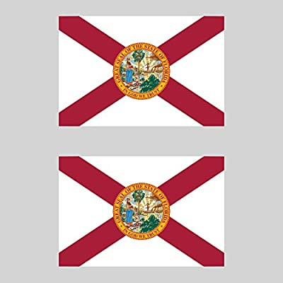 Two Pack Florida Flag Sticker FA Graphix Decal Self Adhesive Vinyl State Southeastern Sunshine: Automotive