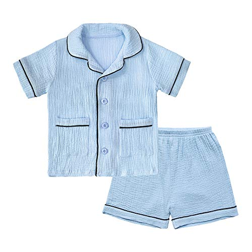 BINIDUCKLING Unisex Baby Sleepwear, Toddler Boy 2 Piece Pajamas Set Kid Cotton Sleep Shirt and Shorts Blue 18M ()