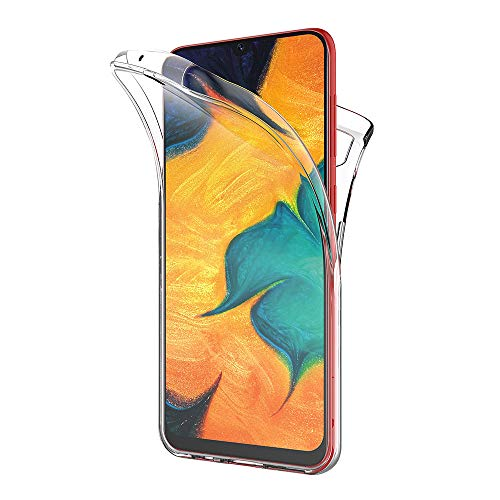 AICEK Case Compatible Samsung Galaxy A30, Full Body 360 Degree Transparent Silicone Cover for Samsung A30 Bumper Covers Clear Case (6.4 inch)