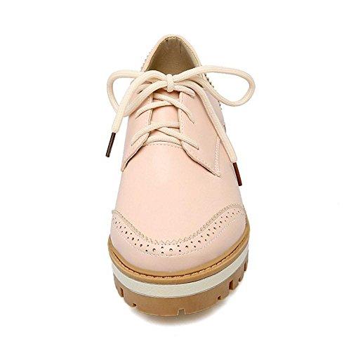 TAOFFEN Women's Fashion Lace Up Court Shoes Pink qPCYl