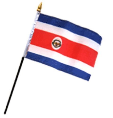 Wholesale Lot of 12 Costa Rica 4''x6'' Desk Table Stick Flag PREMIUM Vivid Color and UV Fade BEST Garden Outdor Decor Resistant Canvas Header and polyester material FLAG by Moon