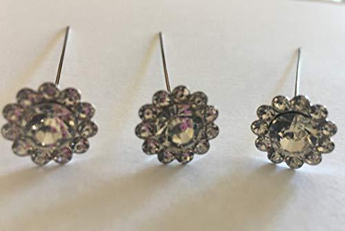 Bouquet Jewels - 24 Bouquet Pins Corsage Wedding ROUND FLORAL Design Crystal Rhinestone Diamond
