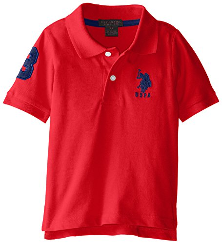 Short Sleeve Solid Pique Polo,Engine Red,3T