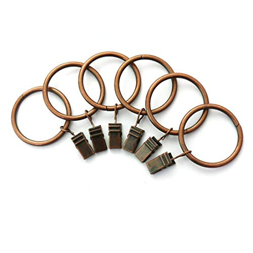 Xin store 40-pack Copper Metal Curtain Rings with Clips (1)